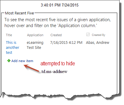 Solved: Attempting to hide 'Add New Item' in List View Con