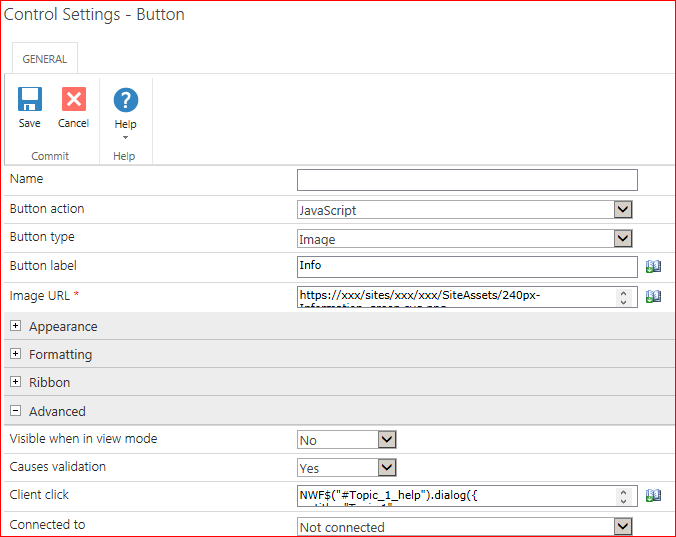 How to create a formatted Help dialog for a Nintex