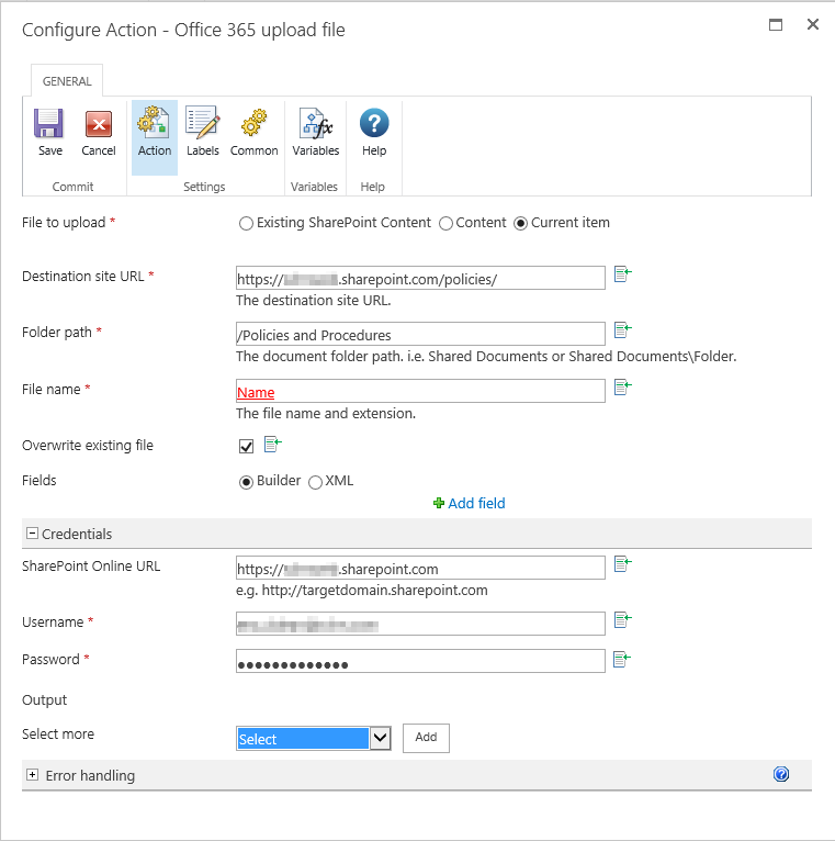 Nintex Workflow 2013 - Office 365 Upload File Erro