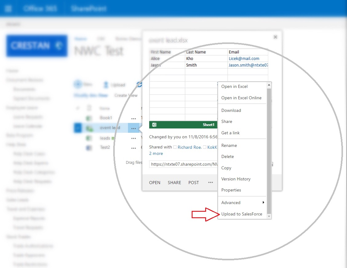 Starts Nintex Workflow Cloud from Sharepoint ECB Menu