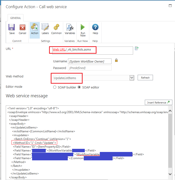 Call Web Service configuration