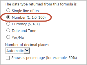 data type returned is number
