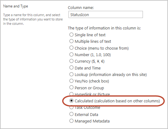 choose calculated as the column type