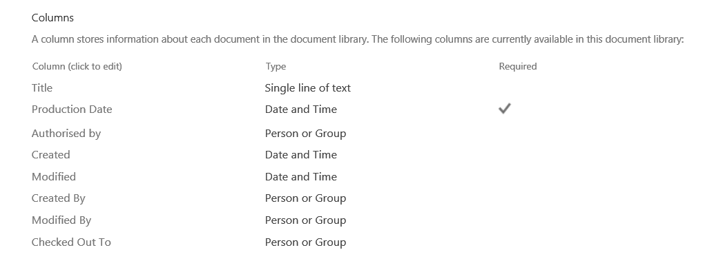 Workflow versioning document library columns