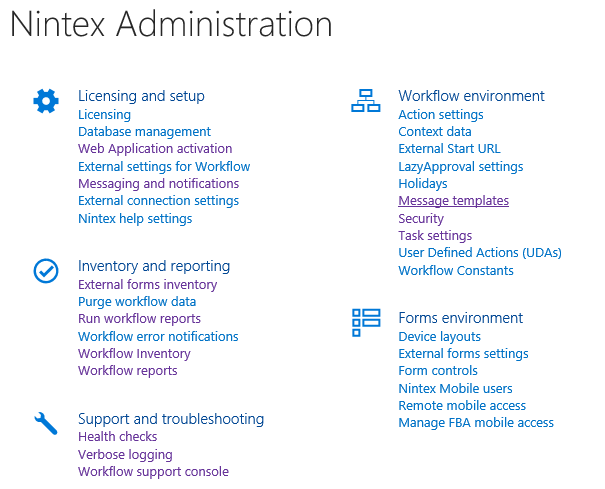 Nintex Administration in Central Administration