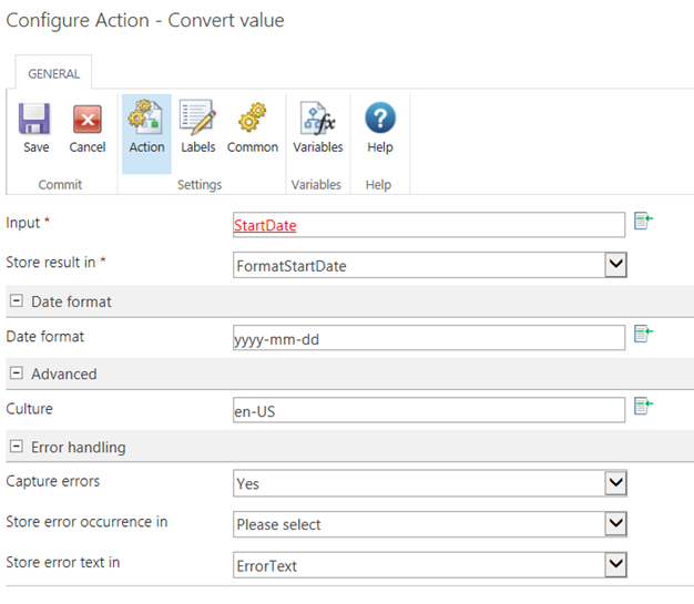 Configure Action - Convert value