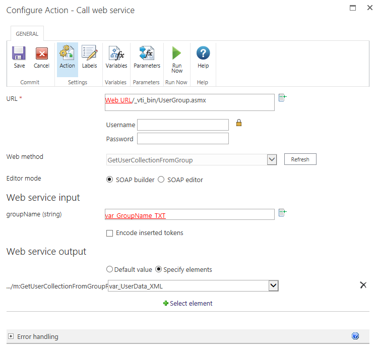A Call web service action in Nintex Workflow 2013 (On Prem)