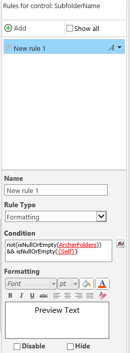 Rule, Type Formatting