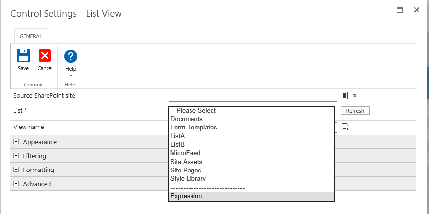 Can I use the list view control for external list? - Nintex