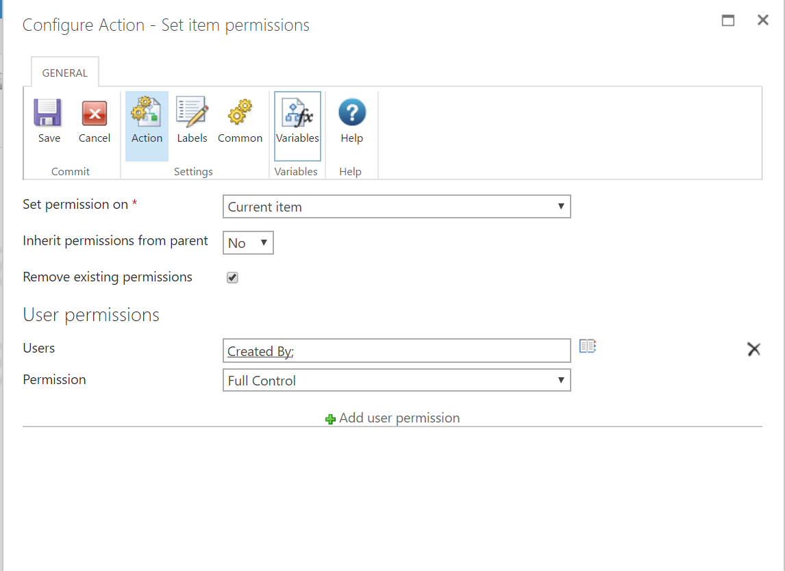 Set item permission configuration