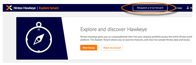 Button to request a trial tenant from the explore tenant