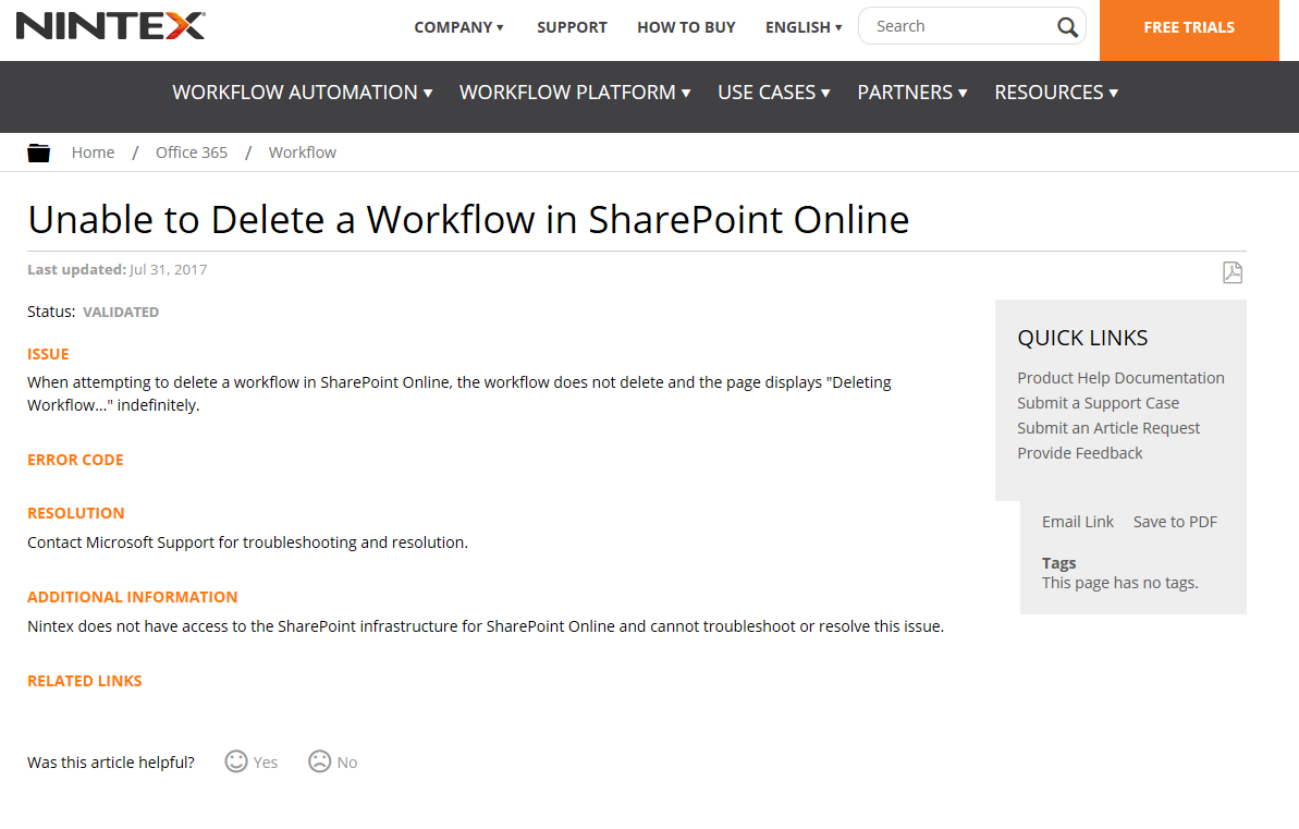 Unable to Delete Workflow in SharePoint Online (Topic from Nintex Support Knowledgebase).  Nintex won't fix the problem.