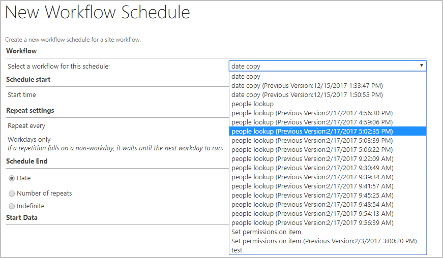 nintex previous versions appear in workflow scheduler