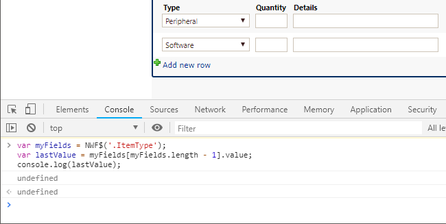 Solved: jQuery to get value of control in last row of Repe
