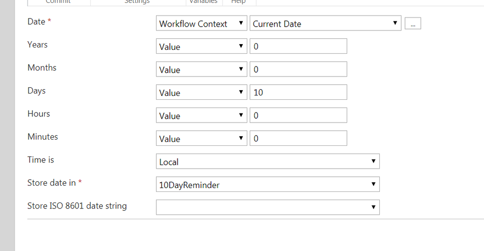 Due Date Reminder Workflow Calculate Date Action.PNG