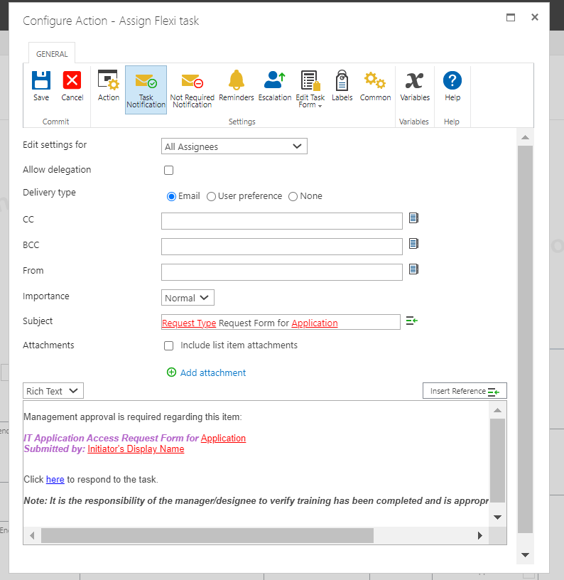 flexitask email configuration 2