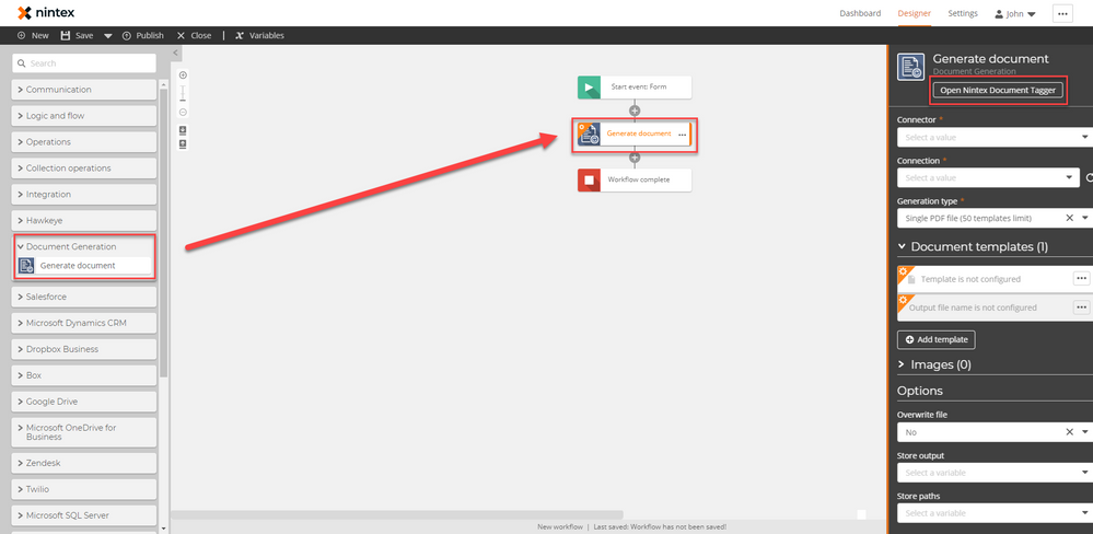 Added the Generate Document action and opening the Nintex Document Tagger.