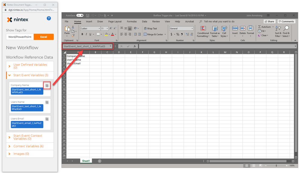 Moving the Tags into Excel.