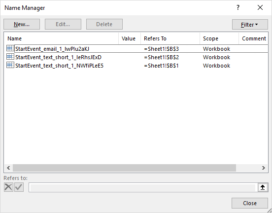 Excel Name Manager