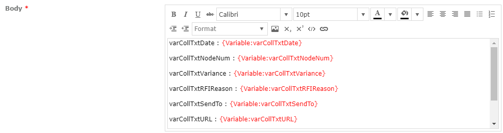 Variables Email