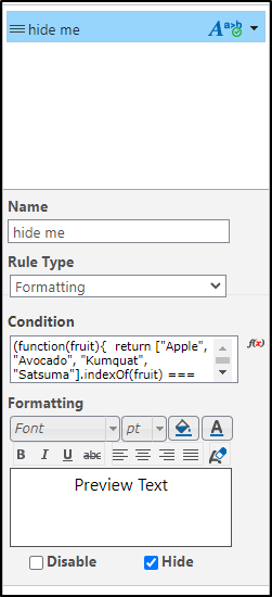 The Formatting Rule