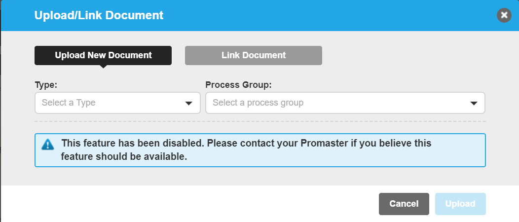 This feature has been disabled.  Contact your Promaster if you believe this feature should be available