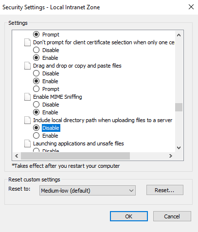 Screen capture showing the setting in IE